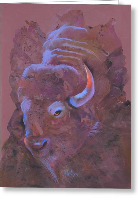 Burgundy Pastels Greeting Cards - Ode to White Buffalo Greeting Card by Nataya Crow