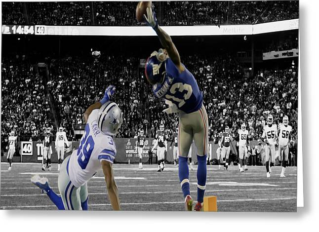 Recently Sold -  - Vince Greeting Cards - Odell Beckham Greatest Catch Ever Greeting Card by Brian Reaves
