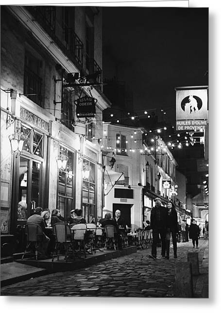 Night Cafe Greeting Cards - Odeon Night 3 - Lover in Paris Photography Greeting Card by Laria Saunders
