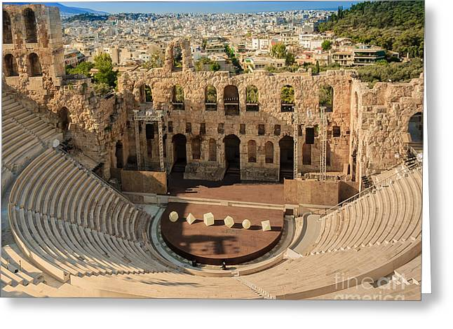 Outdoor Theater Greeting Cards - Odeon of Herodes Atticus Greeting Card by Cassidream Photography