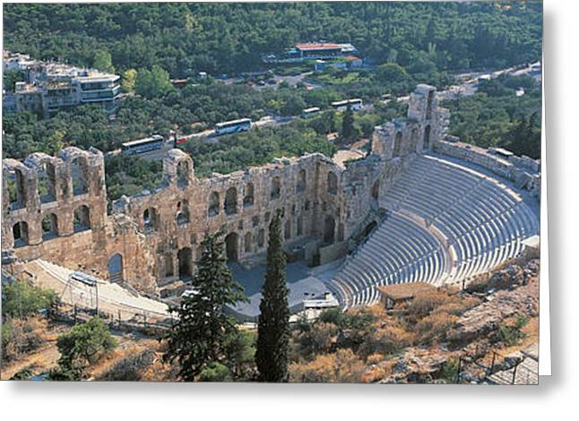 Acropolis Greeting Cards - Odeon Tu Herodu Attku The Acropolis Greeting Card by Panoramic Images
