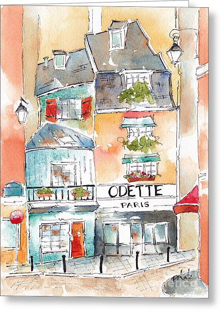 Recently Sold -  - Sienna Greeting Cards - Odette On Rue Galande Paris Greeting Card by Pat Katz