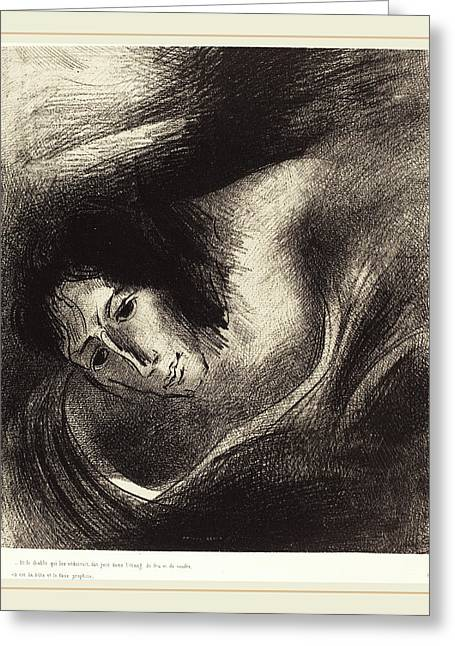 Odilon Redon French, 1867-1939, Et Le Diable Qui Les Greeting Card by Litz Collection