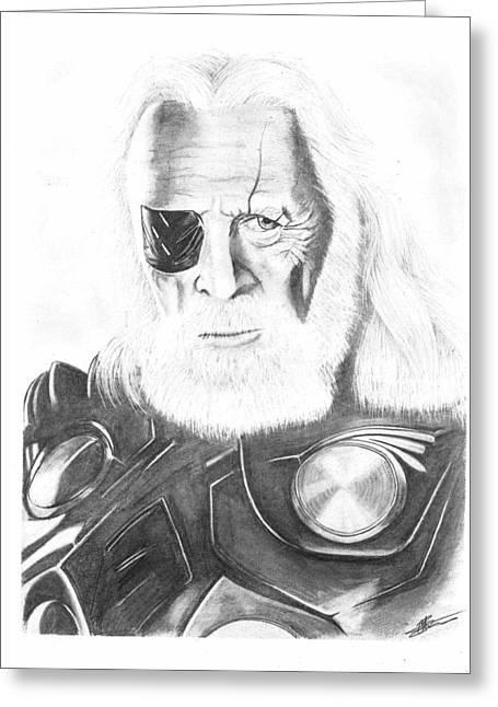 Thor Drawings Greeting Cards - Odin Greeting Card by Carl Barrow