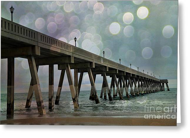 Coastal Art North Carolina Greeting Cards - Oean Pier - Surreal Stormy Blue Pier Beach Ocean Fishing Pier With Bokeh Greeting Card by Kathy Fornal