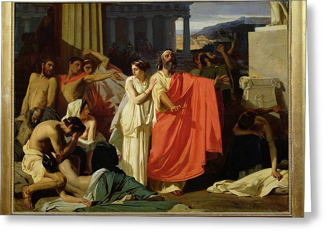 Greek Myths Greeting Cards - Oedipus And Antigone Being Exiled To Thebes, 1843 Oil On Canvas Greeting Card by Ernest Hillemacher