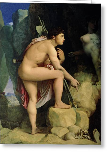 Pondering Paintings Greeting Cards - Oedipus and the Sphinx Greeting Card by Ingres