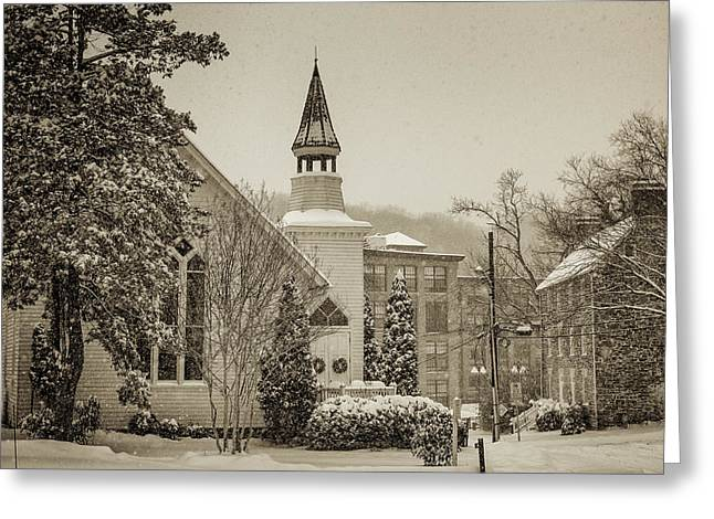 Catonsville Greeting Cards - Oella Church in Snow Greeting Card by Geoffrey Baker