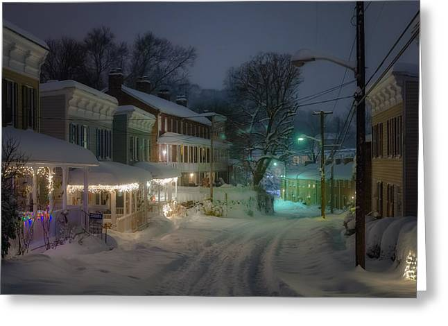 Catonsville Greeting Cards - Oella Night Blizzard Greeting Card by Geoffrey Baker