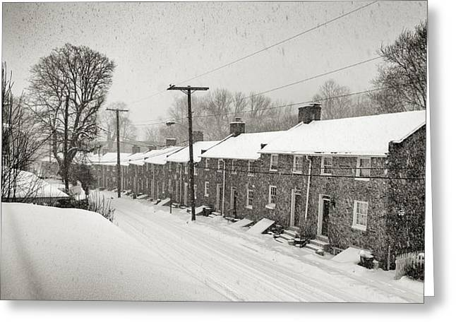 Row Homes Greeting Cards - Oella Snow View Greeting Card by Geoffrey Baker