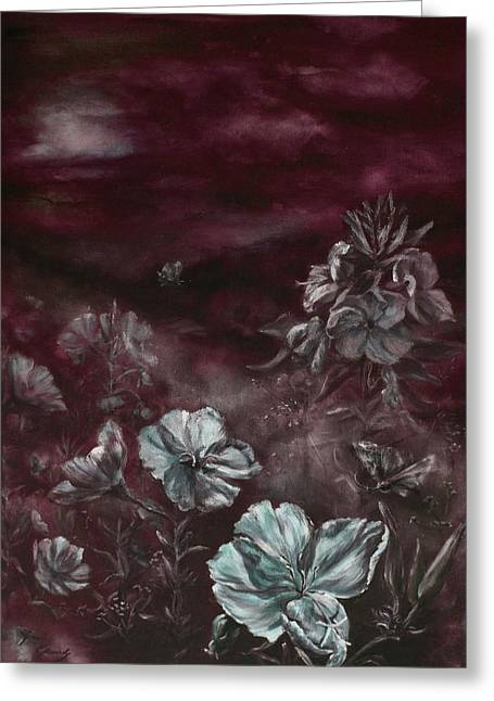 Primroses Mixed Media Greeting Cards - Oenotheras whispers of the night Greeting Card by Elke Hensel
