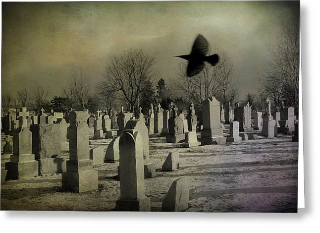 Ravens In Graveyard Greeting Cards - Of A Gothic Nature Greeting Card by Gothicolors Donna Snyder
