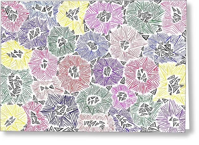 Geometric Image Drawings Greeting Cards - Of Course No 82 Greeting Card by J A   Art Gallery