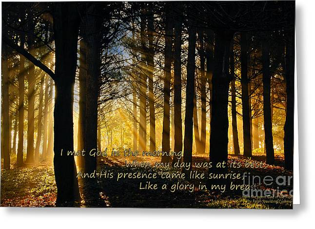 The Sun God Greeting Cards - Of God in the Morning Greeting Card by Lee Craig