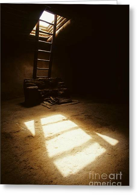 Of Light And Shadow Pecos Ruin Greeting Card by Bob Christopher