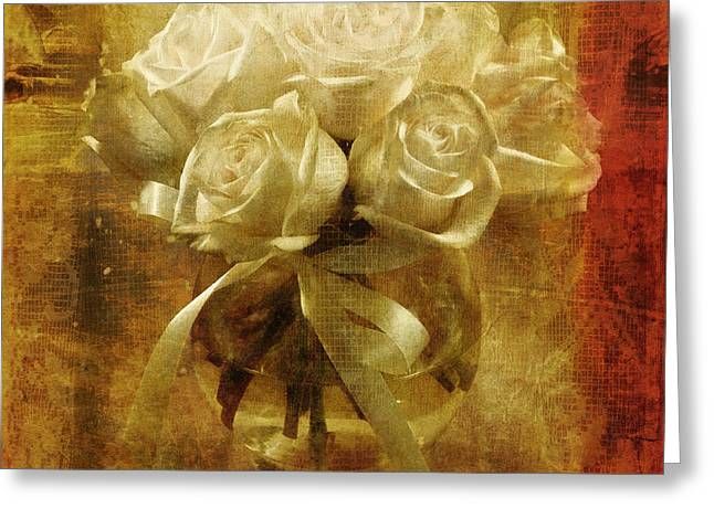 Floral Digital Art Digital Art Greeting Cards - Of Roses and Lace Greeting Card by Lois Bryan