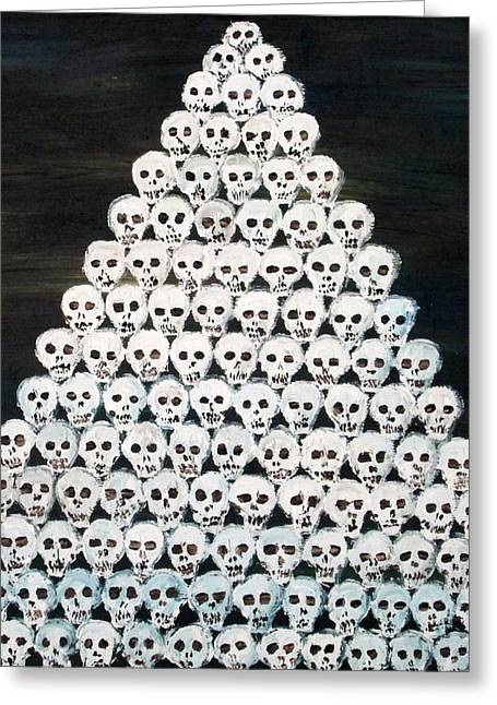 Pyramid Paintings Greeting Cards - Of Skulls Pyramid Greeting Card by Fabrizio Cassetta