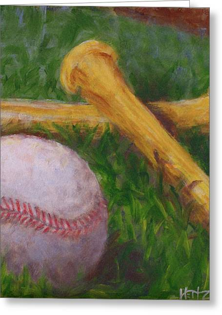 Softball Paintings Greeting Cards - Of the Game Greeting Card by Josh Hertzenberg
