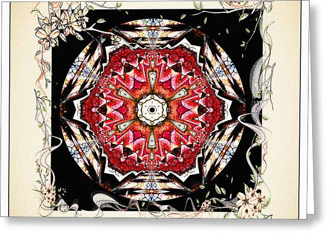 Red Wine Prints Mixed Media Greeting Cards - Of Wine And Roses Vintage Mandala Design Greeting Card by Georgiana Romanovna