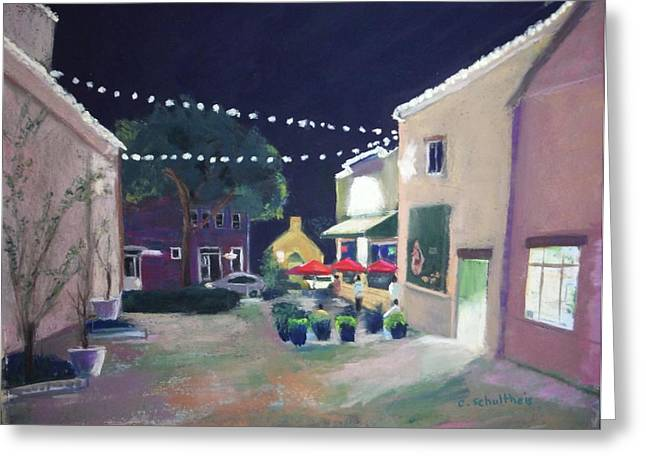 Night Scenes Pastels Greeting Cards - Off Broadway Greeting Card by Candy Schultheis