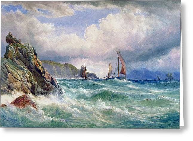 Blue Sailboat Greeting Cards - Off Cape Clear    County Cork Greeting Card by John Faulkner