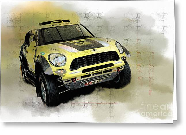 Rally Mixed Media Greeting Cards - Off road MINI Greeting Card by Roger Lighterness