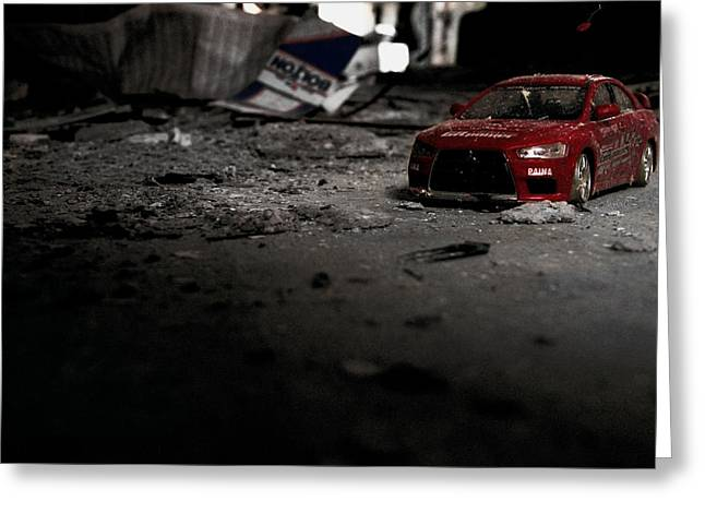 Subaru Rally Greeting Cards - Off Road Rally Red Greeting Card by Anthony Bean
