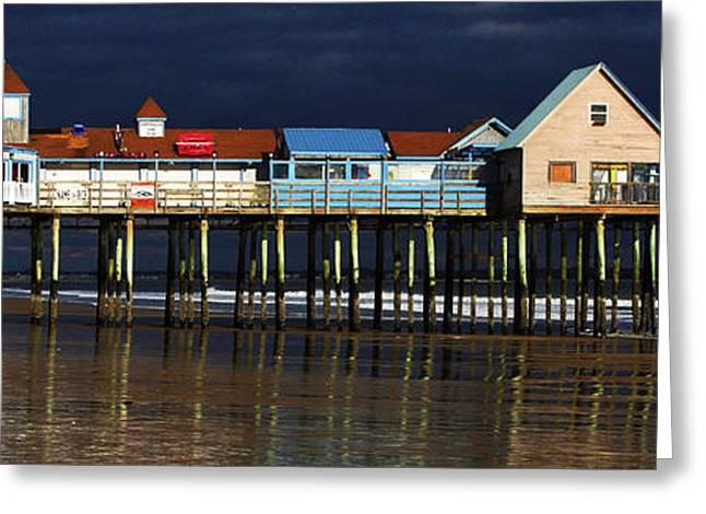 Maine Beach Greeting Cards - Off-Season At The Pier Greeting Card by Karen Anderson