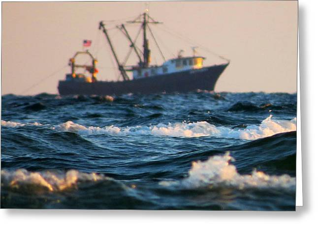 Dennis Ma Photographs Greeting Cards - Off Shore Fishing Greeting Card by Dianne Cowen