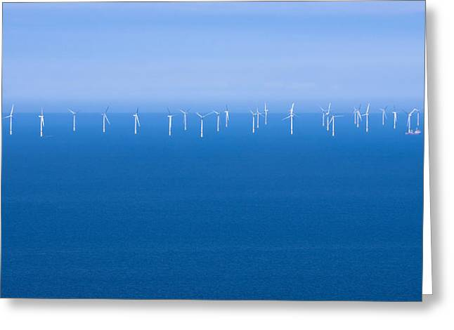 Jane Mcilroy Greeting Cards - Off-Shore Wind Farm Greeting Card by Jane McIlroy