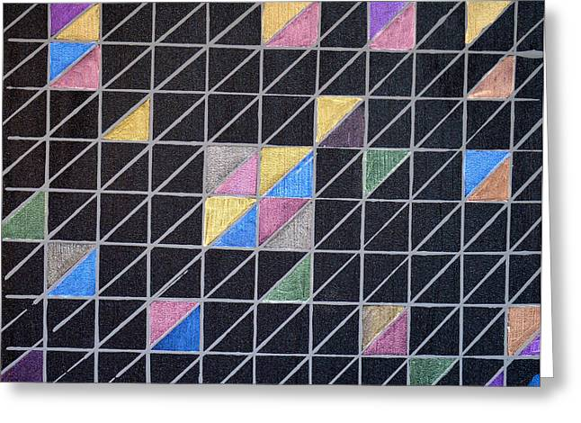 Geometric Art Greeting Cards - Off The Grid Greeting Card by Donna Blackhall