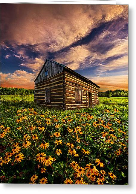 Log Cabins Greeting Cards - Off the Grid Greeting Card by Phil Koch