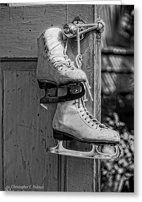 Off The Ice - Bw Greeting Card by Christopher Holmes