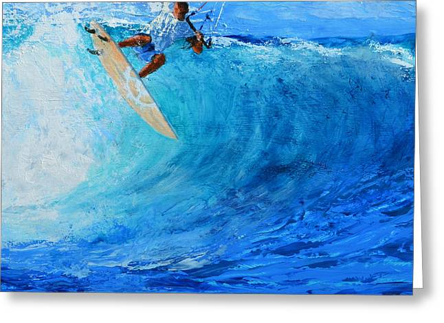 Kiteboarding Greeting Cards - Off the Lip Greeting Card by Lynee Sapere