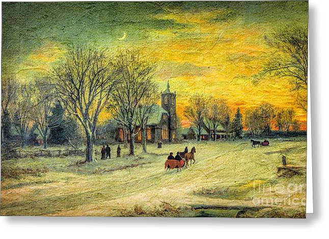 Lianne_schneider Greeting Cards - Off to Church - Christmas Eve Services Greeting Card by Lianne Schneider