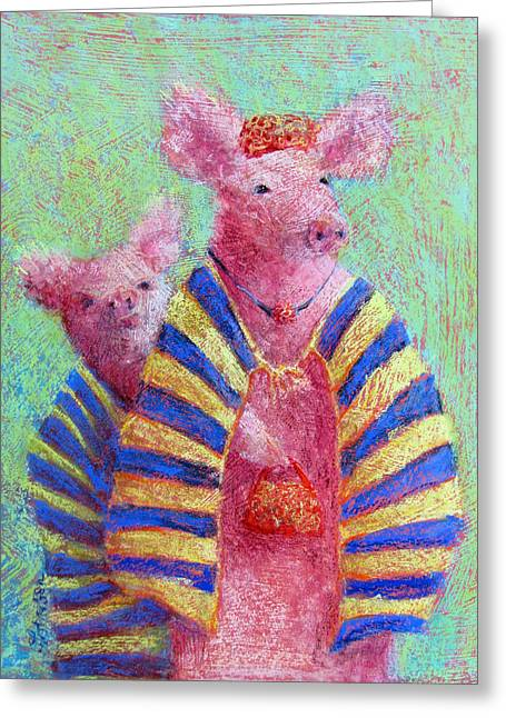 Pigs Pastels Greeting Cards - Off to Market Greeting Card by Julia Patterson