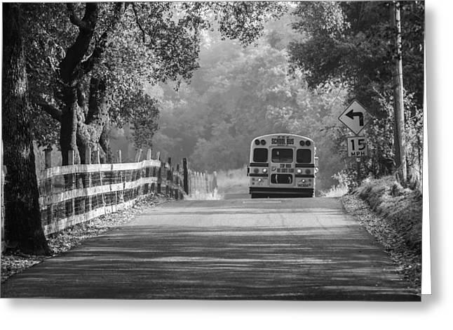 Rural School Bus Greeting Cards - Off To School 2 Greeting Card by Sherri Meyer