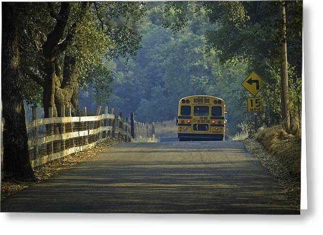 Rural School Bus Greeting Cards - Off To School Greeting Card by Sherri Meyer