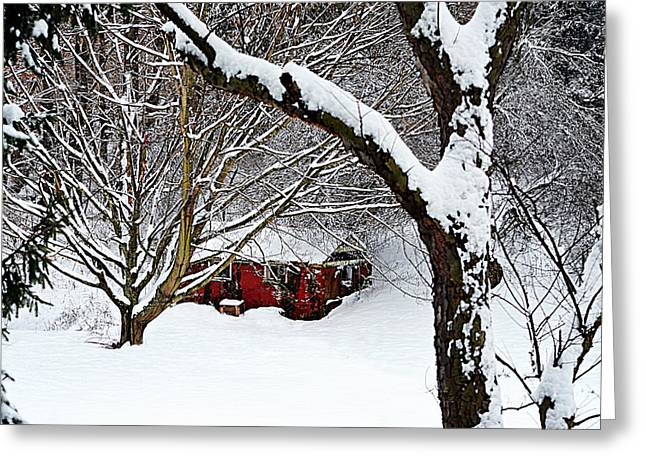 White As Snow Greeting Cards - Off To The Cabin Greeting Card by Jeanne Geidel-Neal