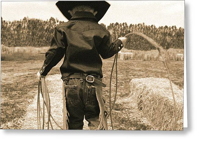 Off to Work Sepia Greeting Card by Don Schimmel