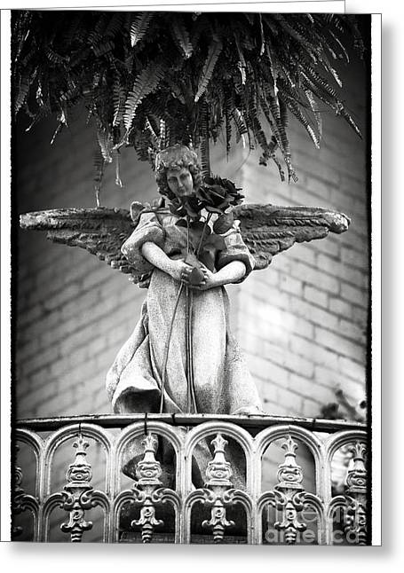 Black White Spiritual Angel Art Greeting Cards - Offering in New Orleans Greeting Card by John Rizzuto