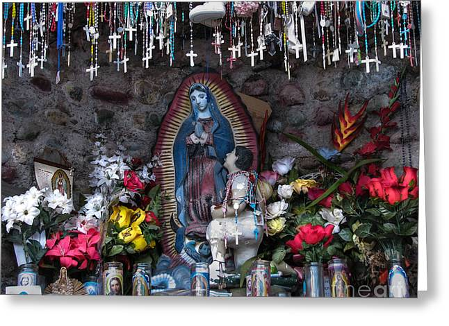 Rosary Greeting Cards - Offerings For Our Lady Of Guadelupe Greeting Card by Roselynne Broussard