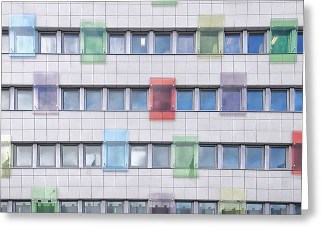 Geometric Style Greeting Cards - Office block background Greeting Card by Antony McAulay