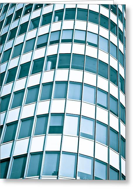 Glass Reflecting Greeting Cards - Office builing Greeting Card by Tom Gowanlock