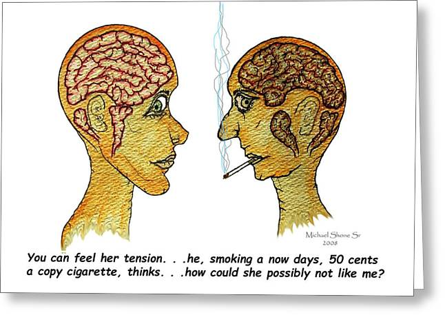 Smoking Greeting Cards - Office Memo Does She Like Me? Greeting Card by Michael Shone SR