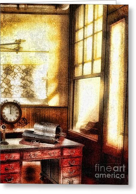Desk Mixed Media Greeting Cards - Office Greeting Card by Mo T