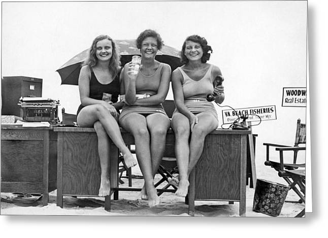 Office Moves To The Beach Greeting Card by Underwood Archives