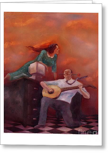 Lute Paintings Greeting Cards - Office Romance Greeting Card by Chris Van Es