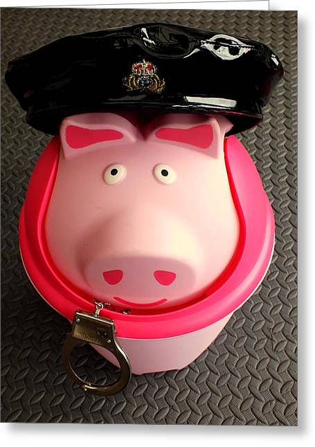 Constable Greeting Cards - Officer bacon wants a doughnut Greeting Card by Guy Pettingell
