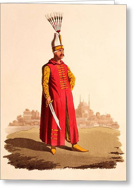 Officers Greeting Cards - Officer Of The Janissaries, From The Greeting Card by Thomas Charles Wageman